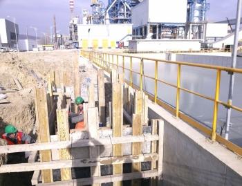 Водопроводна мрежа до нов басейн за дъждовни води на територията на завод Девня Цимент.